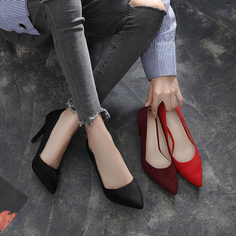 7cm酒红色肥宽胖脚高跟鞋女41码细跟尖头单鞋胖mm大码鞋40-43加宽
