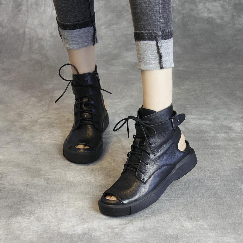 时尚真皮凉靴休闲露趾靴子2019春夏手工女鞋新品牛皮凉鞋时装鞋