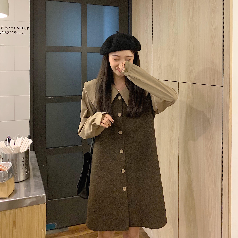 实拍实价2019新款冬季韩版娃娃领衬衫拼接拉毛开衫假两件连衣裙女