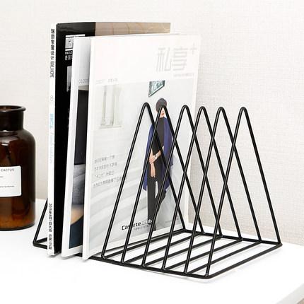 ins北欧桌面铁艺书架办公室桌上书挡简约杂志收纳架创意书夹简易