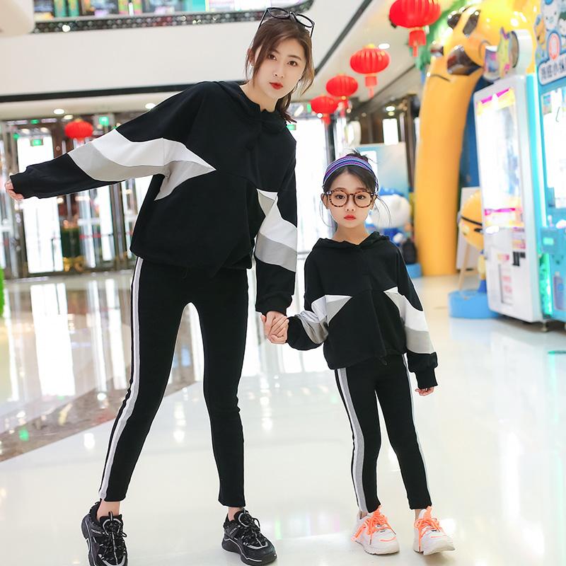 亲子装母女装洋气女童秋款2020新款网红韩版宽松儿童表演走秀套装