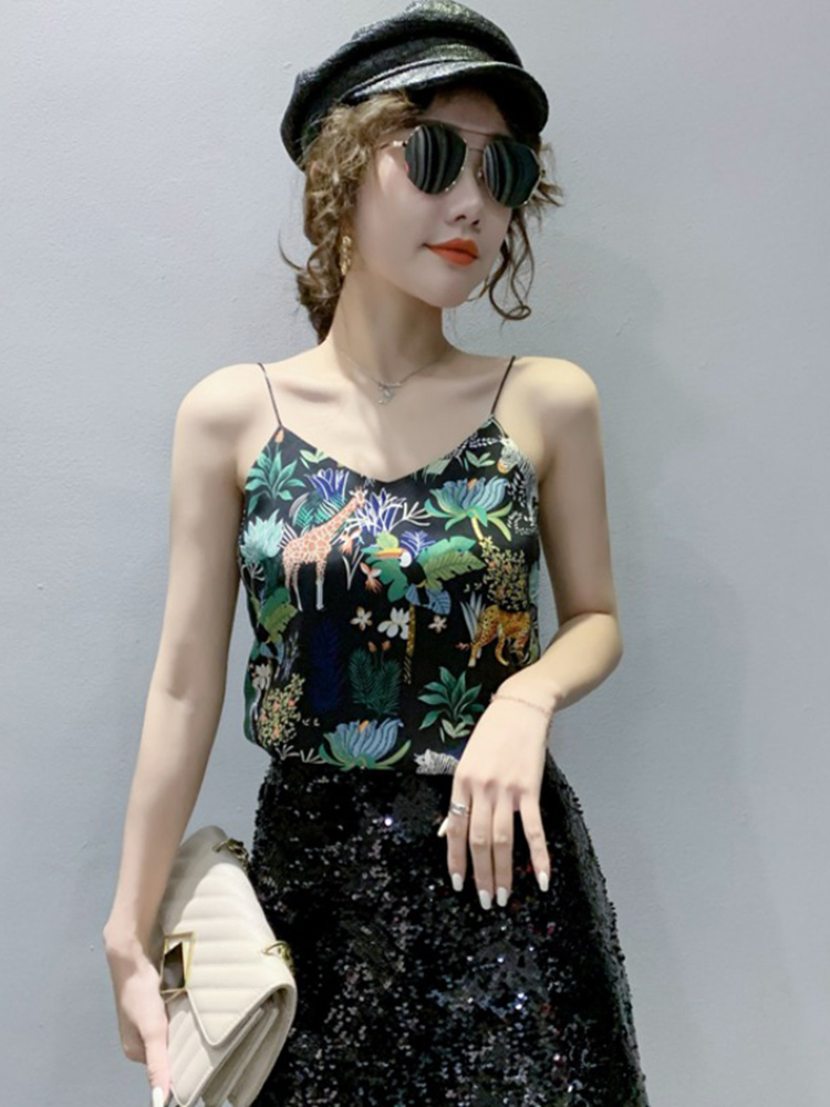 Ethnic pattern print suspender sexy V-neck vest with bottom inside and top outside