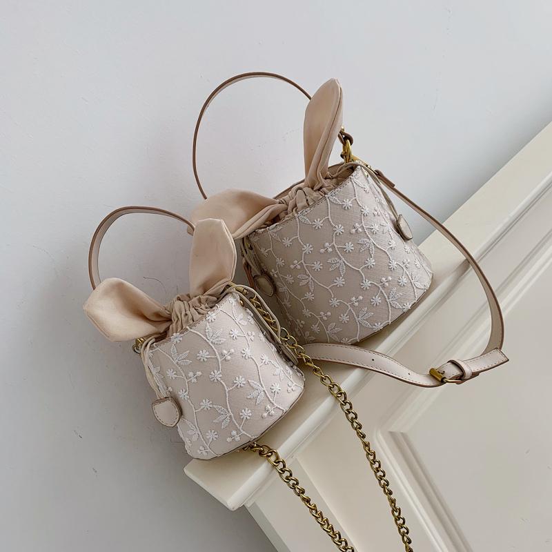 (用3元券)女2019韩版少女ins手提蕾丝水桶包