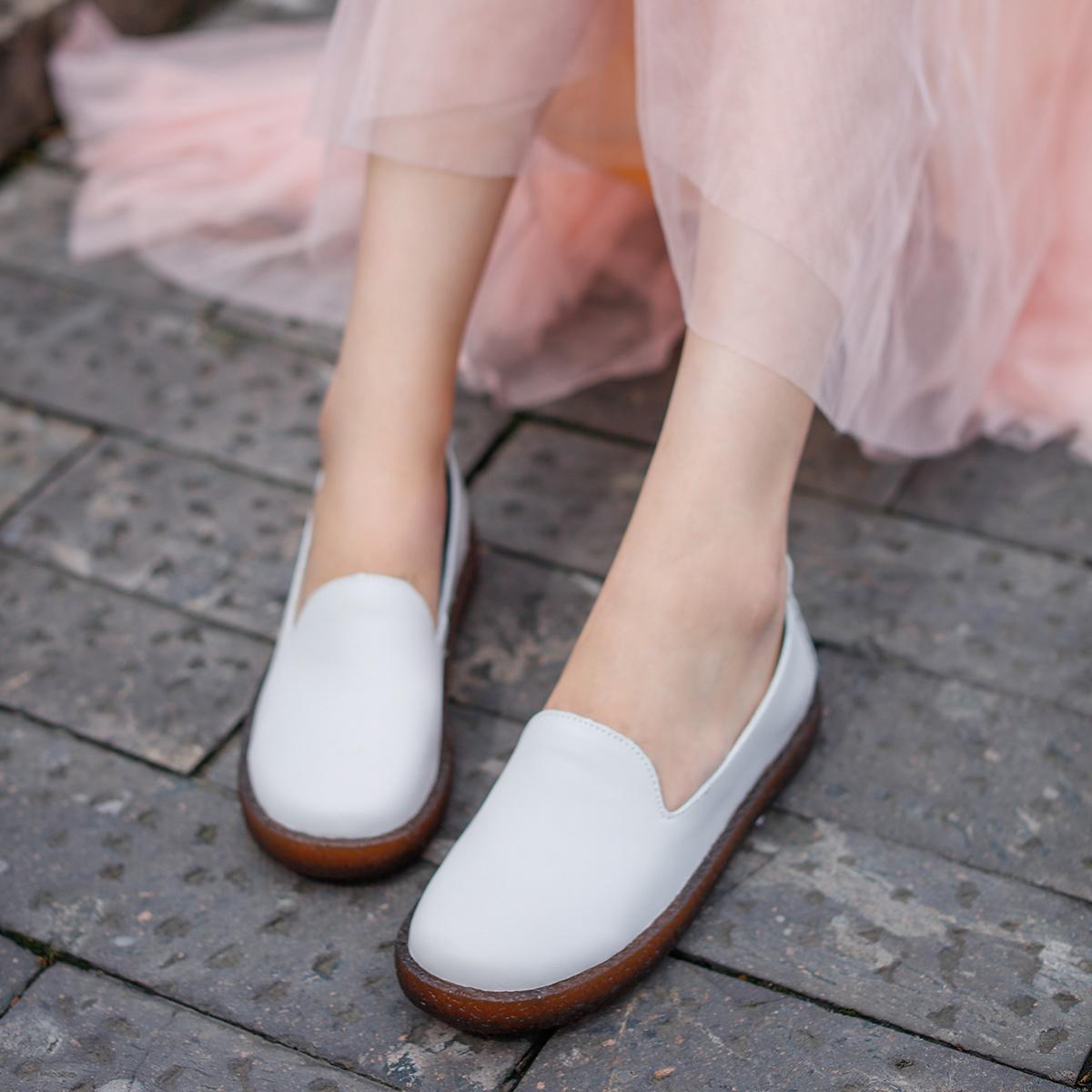 单鞋女2019秋季新款复古真皮一脚蹬鞋软底休闲平底鞋女百搭42095