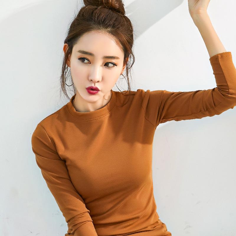 2018秋季纯色长袖t恤女大码修身百搭纯棉紧身上衣圆领简约打底衫