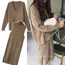 Net red sweater autumn and winter 2018 new fat sister Yang Qi knitted sweater suit skirt shows thin age reduction two piece set