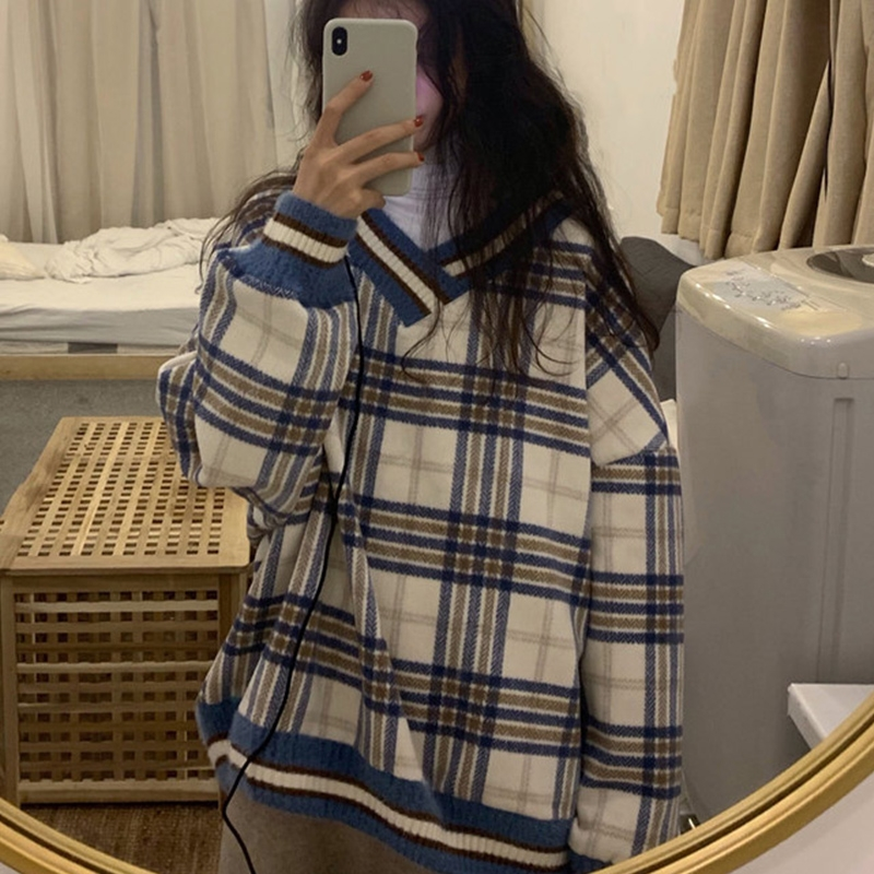 毛呢格子卫衣秋冬季2020新款学院风洋气减龄宽松韩版长袖格子上衣图片