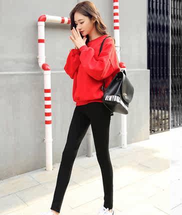韩版春秋女款显瘦外穿高腰带打底裤