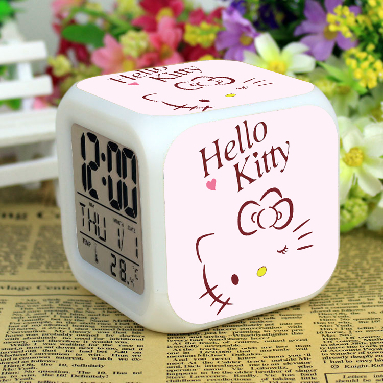Kitty / Kitty alarm clock students use intelligent and creative electronic children to mute the night light clock at the head of the bed