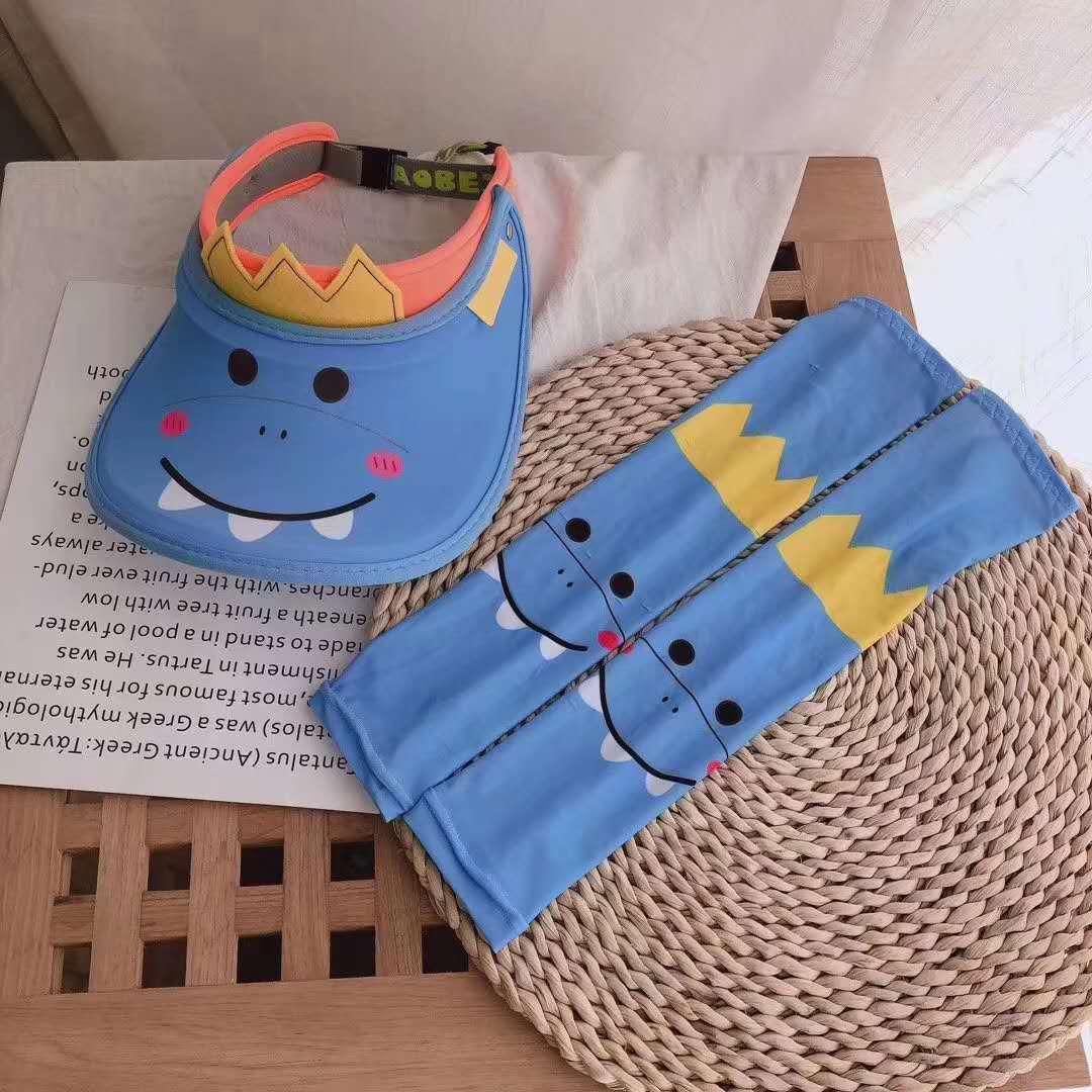 萌帽子冰袖套装夏季防晒透气帽大檐空顶帽男童女童儿童可爱遮阳帽图片