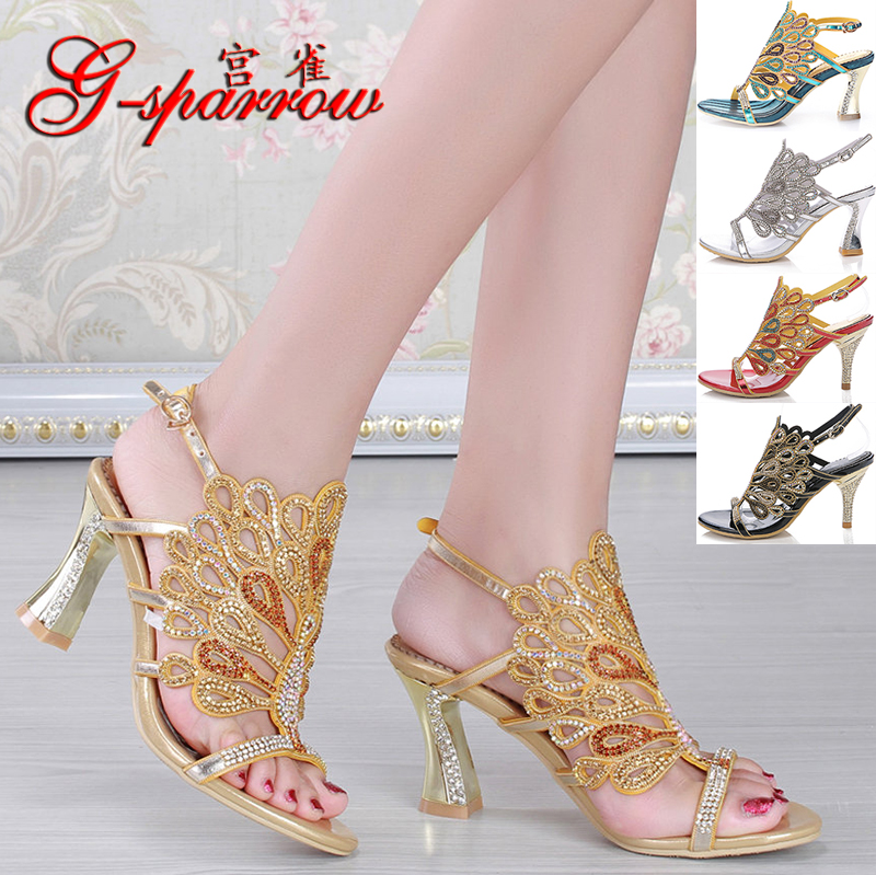Gongque 2020 summer new style diamond sandals thick heel water diamond sandals sexy womens shoes high heel Evening Shoes Size