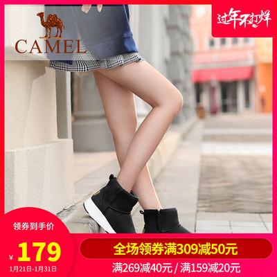 骆驼女鞋冬靴女加绒2019新款时尚学生棉鞋运动短靴女平底雪地靴女