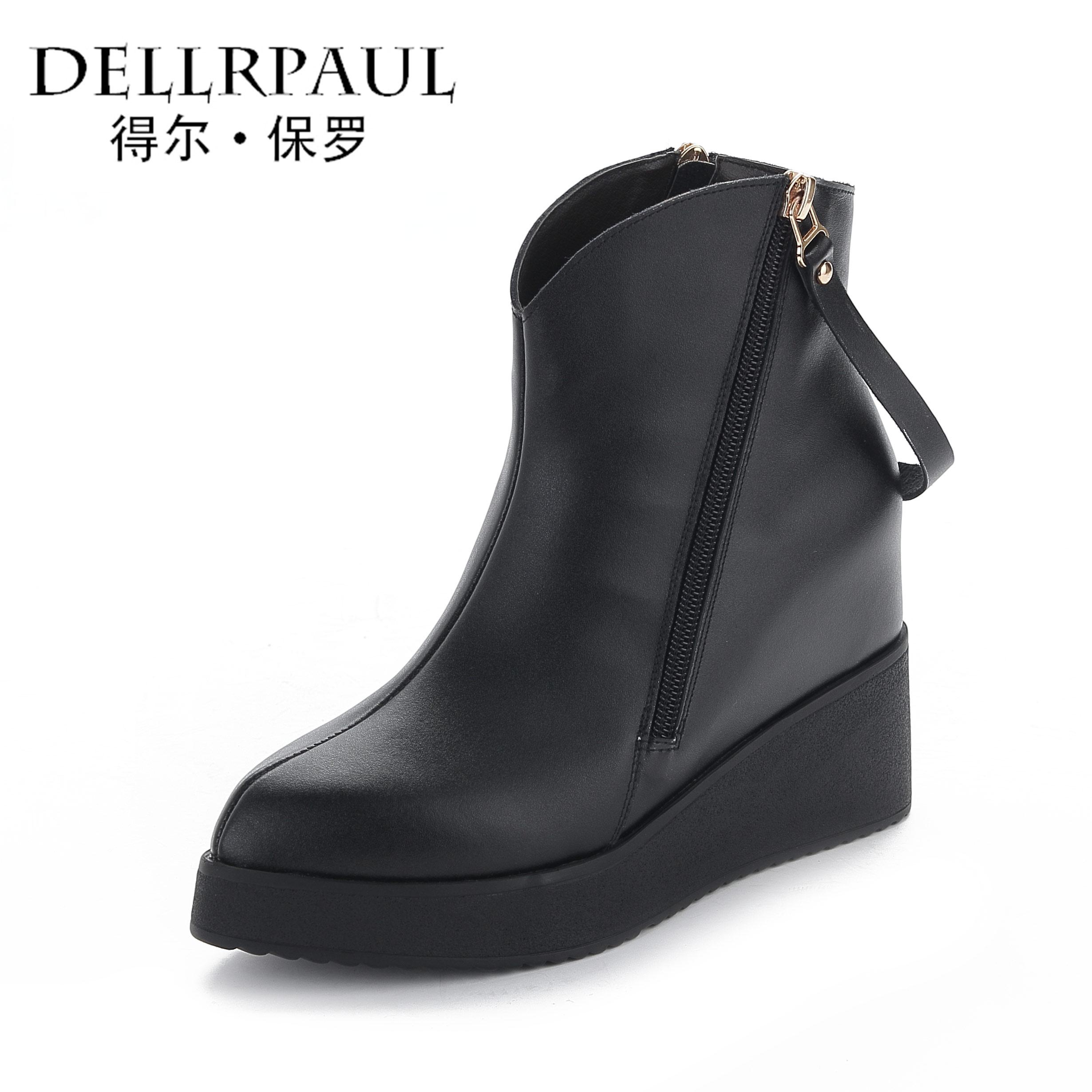 內增高坡跟短靴 女牛皮高跟馬丁靴女靴子防水台真皮女鞋加絨
