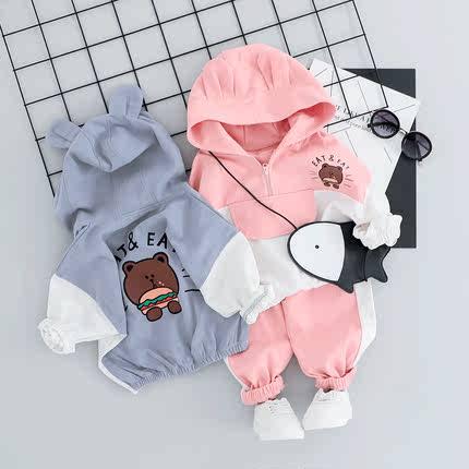 女童套装2019春秋新款男童汉堡熊