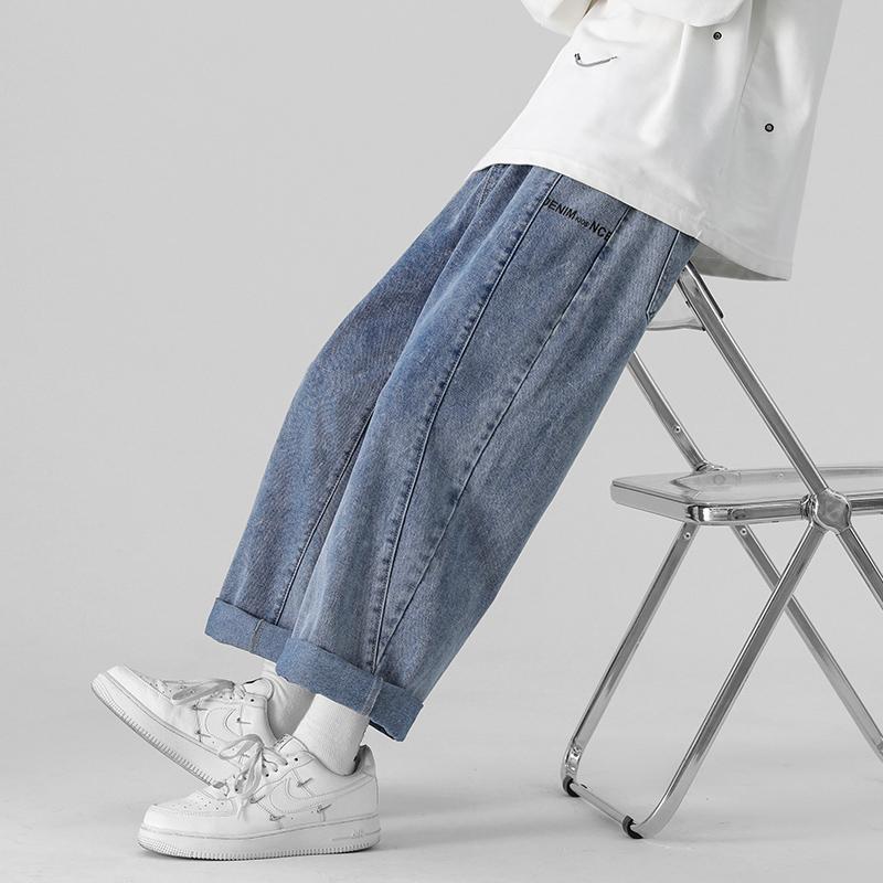 1秋季牛仔裤男宽松直筒男刺绣男女裤子A210-NZ9004-P45