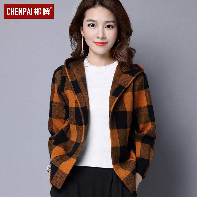 2021 spring new womens wear Korean loose and versatile Plaid Hooded Jacket Womens short long sleeve slim knitted cardigan