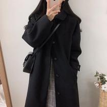 赫本风毛呢外套女2019秋冬季新款韩版黑色中长款呢子大衣流行加厚