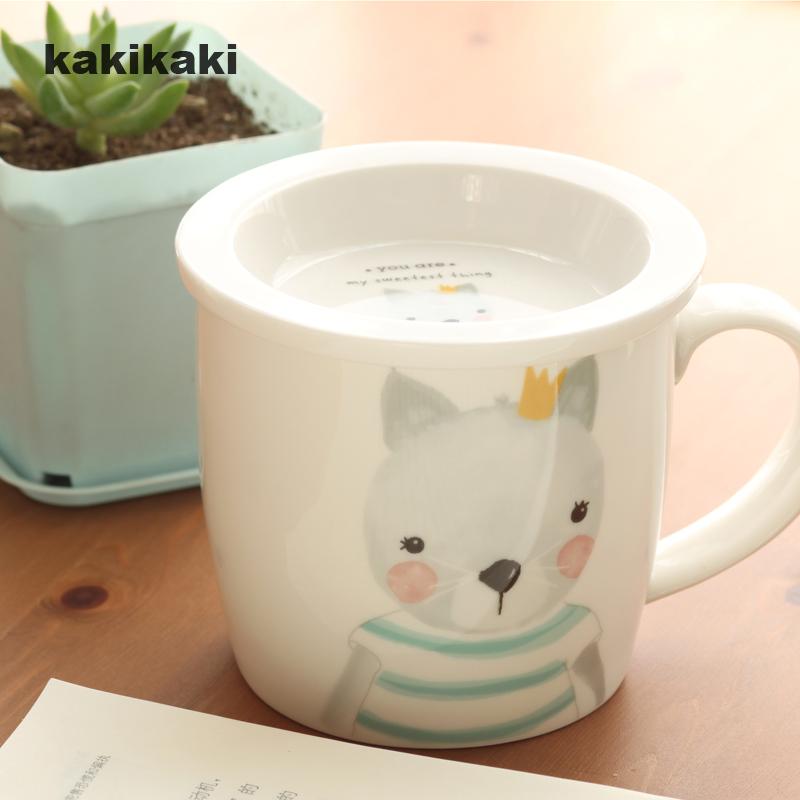 kakikaki動物王國早餐杯 陶瓷水杯帶蓋帶刻度杯泡奶杯兒童牛奶杯