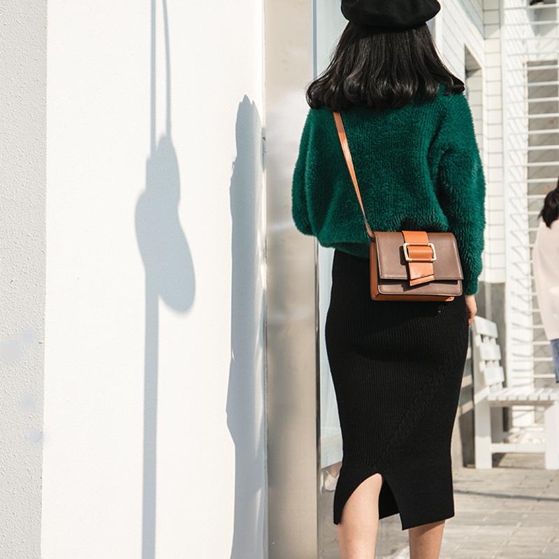 塞米琳小包包女2018新款单肩撞色百搭斜挎包女韩版真皮?#22402;?#23567;方包