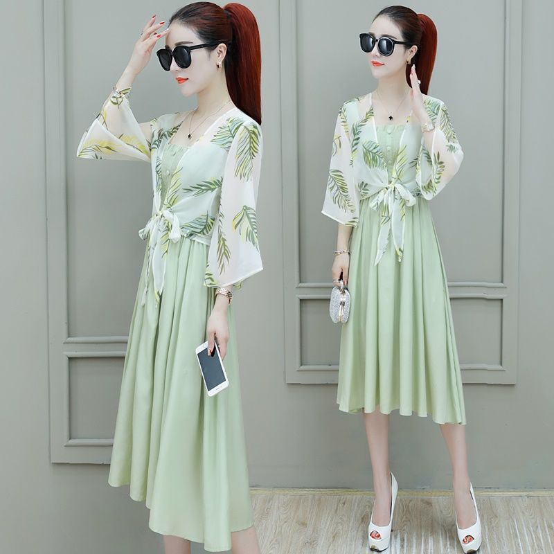 One / two piece suit Chiffon Dress Large women summer 2020 new fashion Korean style mid length skirt