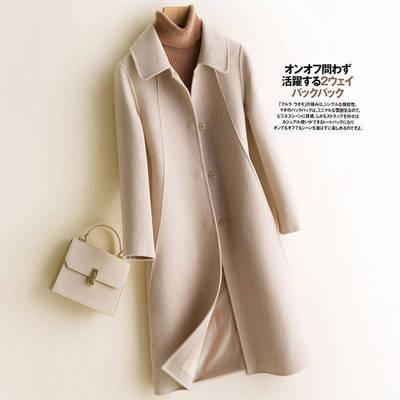 秋冬新款毛呢纯色外套呢子大衣女中长款西装领流行呢子