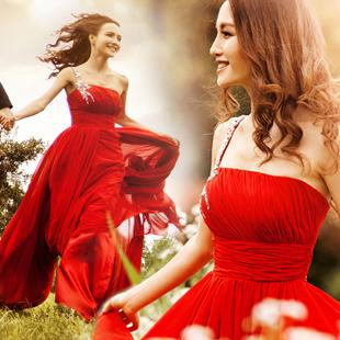 Красный одно плечо длинный вечернее платье cheongsam свадебное платье свадьба участие свадьба тосты принять 2015 новый