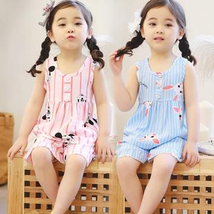 短袖 小孩宝宝背心中大童棉绸家居服套装 夏季 女童儿童绵绸睡衣薄款