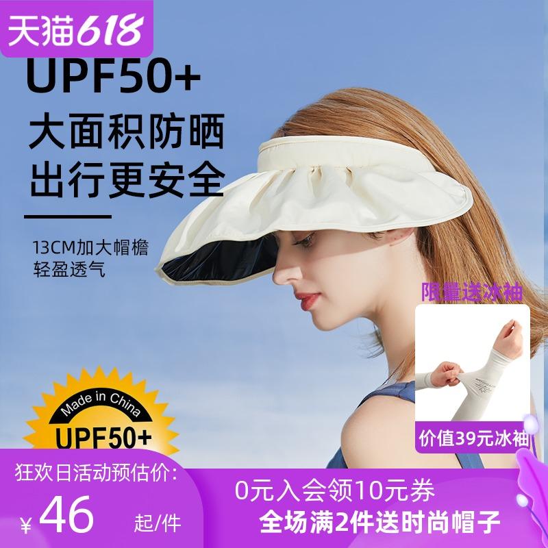 帽子女夏季空顶遮阳帽防紫外线太阳帽可折叠发箍贝壳uvcut防晒帽