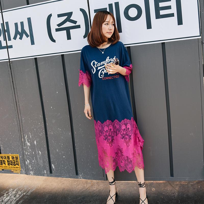高艺心韩国代购东大门连衣裙夏新款纯棉宽松圆领印花蕾丝边拼接裙