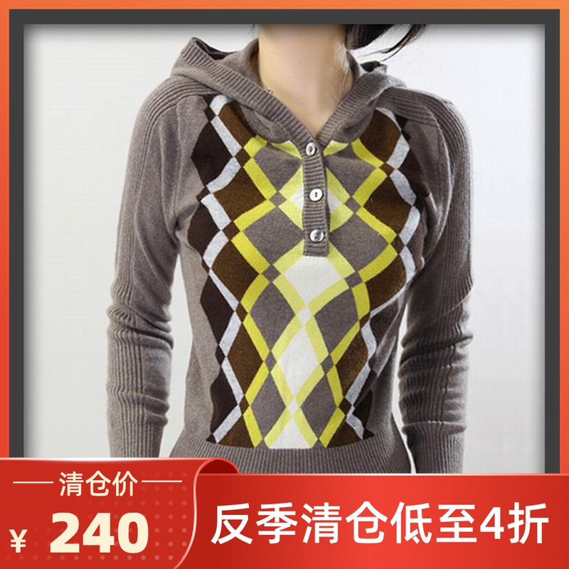 Autumn and winter 2020 new fashion Hoodie grey pattern sweater womens slim pure cashmere sweater