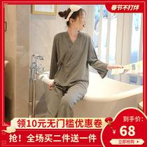 日系和服甜美可爱睡衣女春秋纯棉长袖宽松系带家居服大码休闲套装