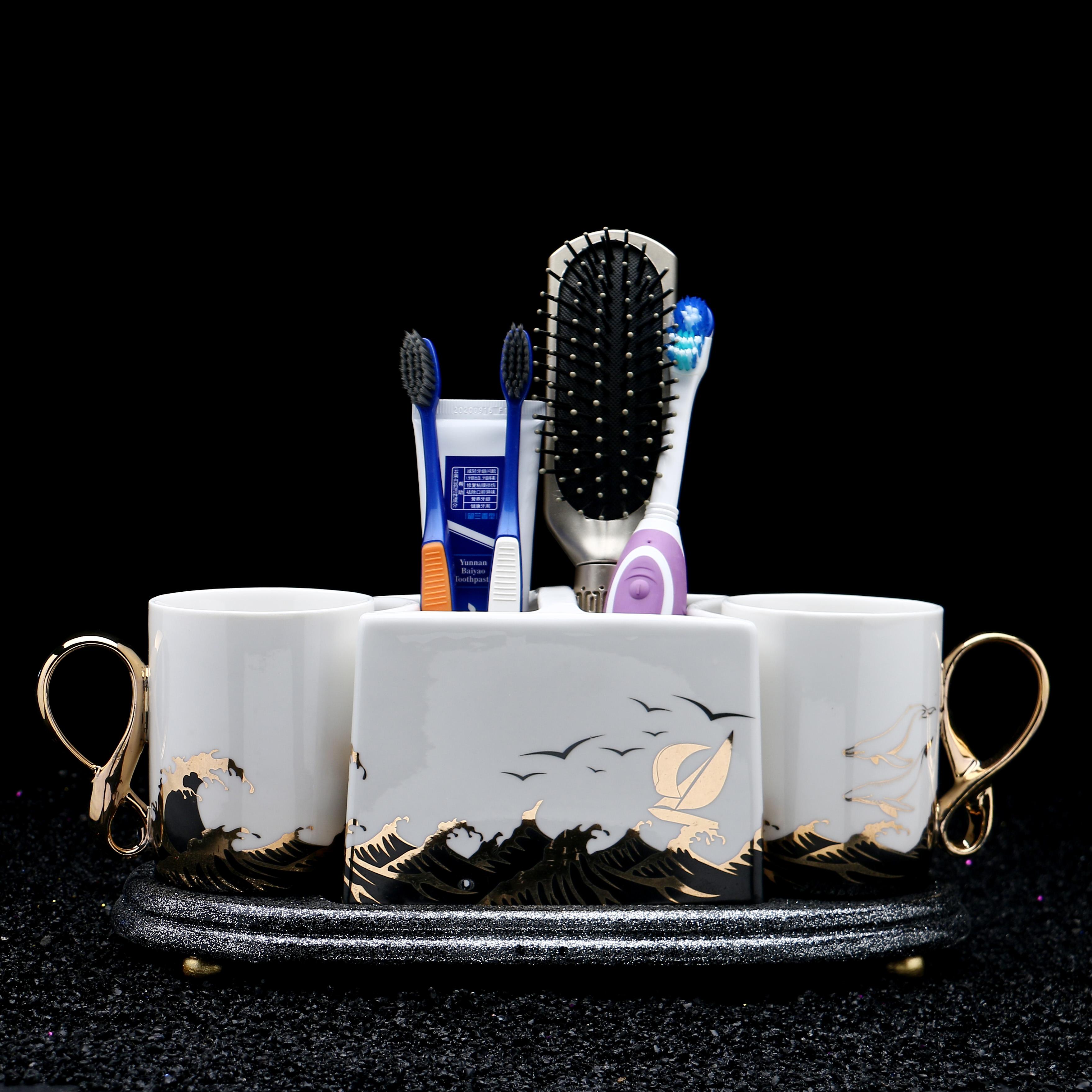 欧式陶瓷卫浴五件套带托盘牙刷架牙具座漱口刷牙杯家用洗漱杯套装