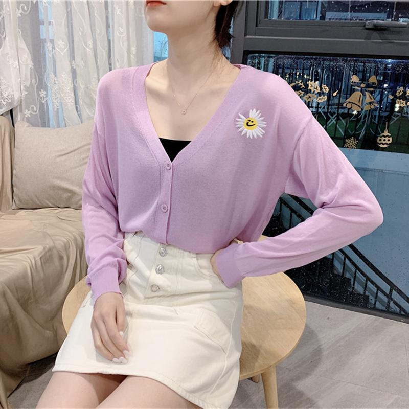 20 thin new ice silk linen knitted jacket cardigan purple daisy sunflower embroidered purple blouse