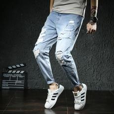 S实拍2018春夏男裤青少年牛仔裤男修身牛仔长裤男破洞小脚裤1818