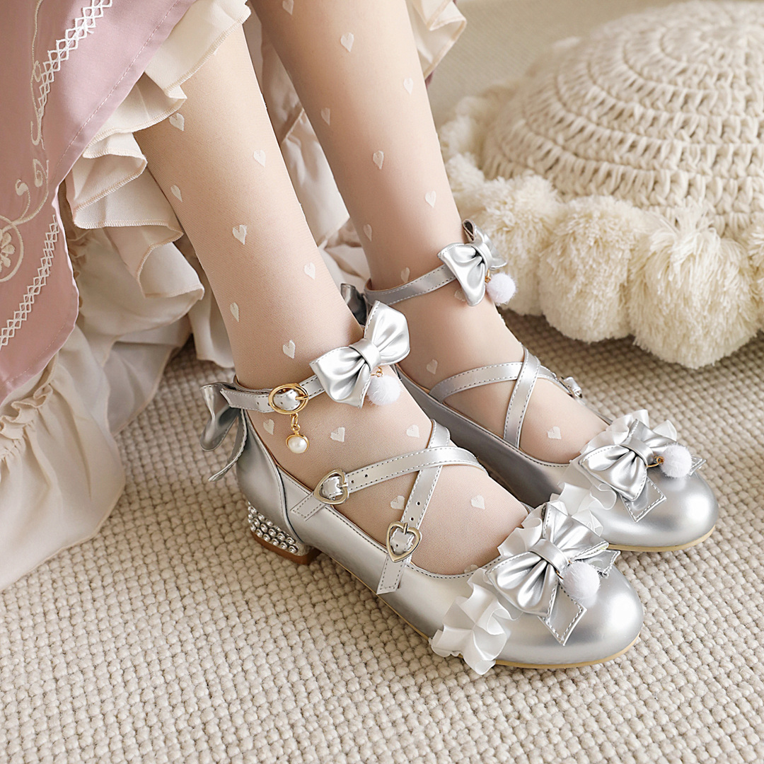 Spring and summer new single shoes womens round head bow lovely princess Lolita performance student womens shoes low middle heel
