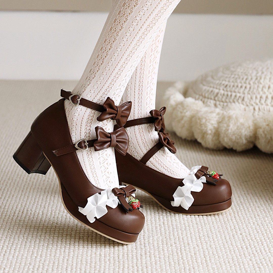 New style single shoes in spring and summer womens bow sweet Japanese Lolita lovely student womens Shoes Pink