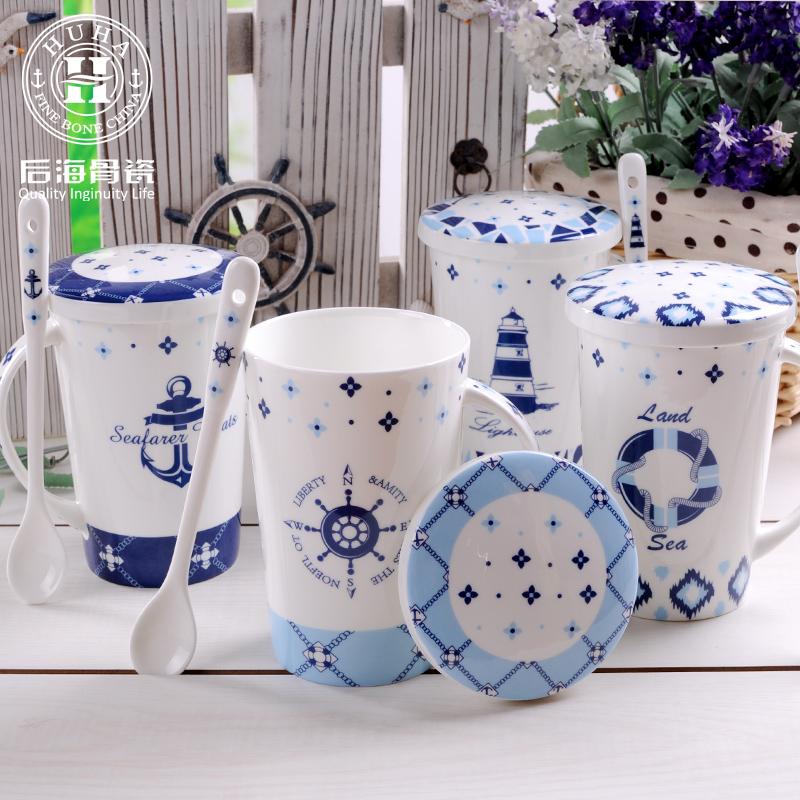 杯子陶瓷帶蓋勺情侶馬克杯簡約地中海骨瓷牛奶杯 辦公室喝水杯