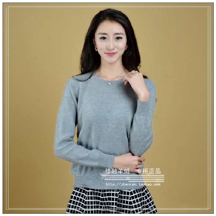 Winter new cashmere sweater womens round neck flat needle solid color simple casual loose large Pullover Sweater slim sweater