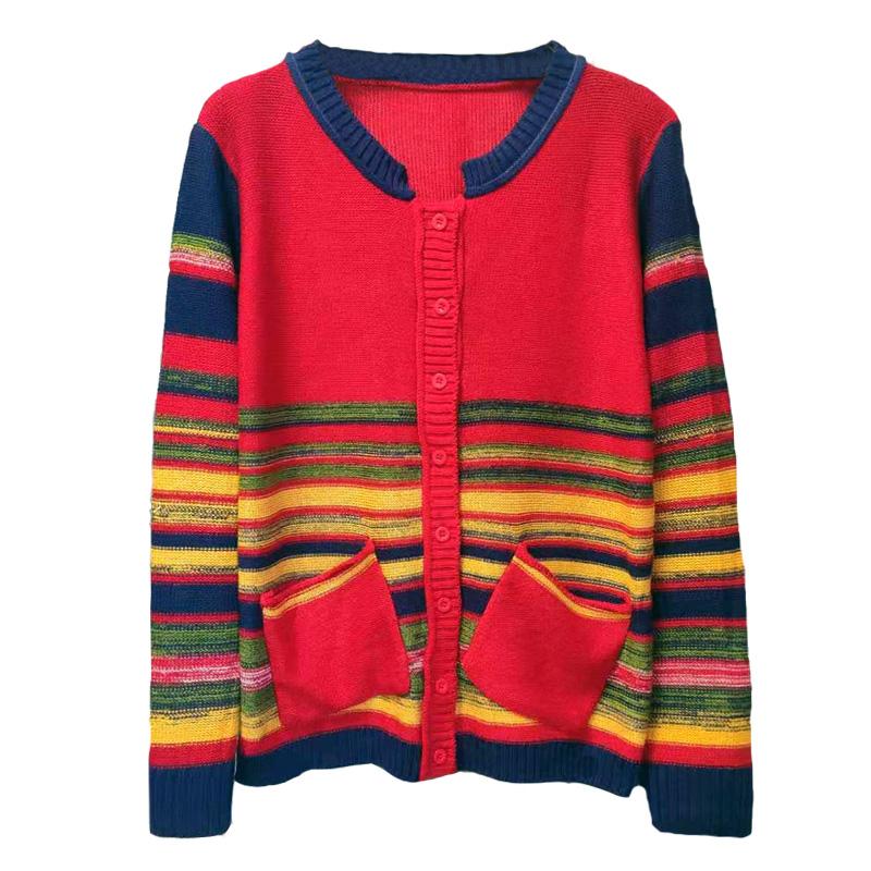 针织开衫女秋冬装2019款女短款外搭宽松条纹民族风颖织羊毛衣外套