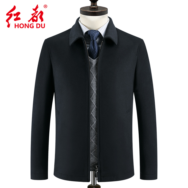 Hongdu mens wool jacket mens middle-aged fathers coat autumn and winter thick mens business casual Lapel coat