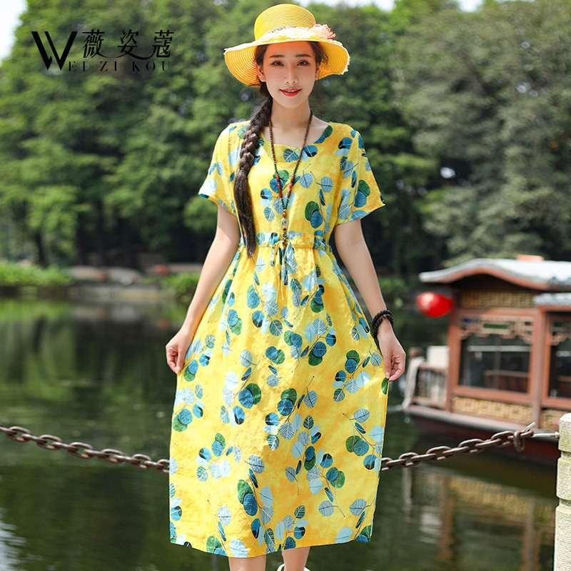 满99.00元可用1元优惠券棉麻连衣裙2019新款夏人造中长裙子