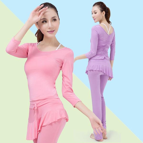 Dance rhyme Yoga dress womens spring and summer modal fashion temperament show thin short sleeve dance dress sports suit three piece set