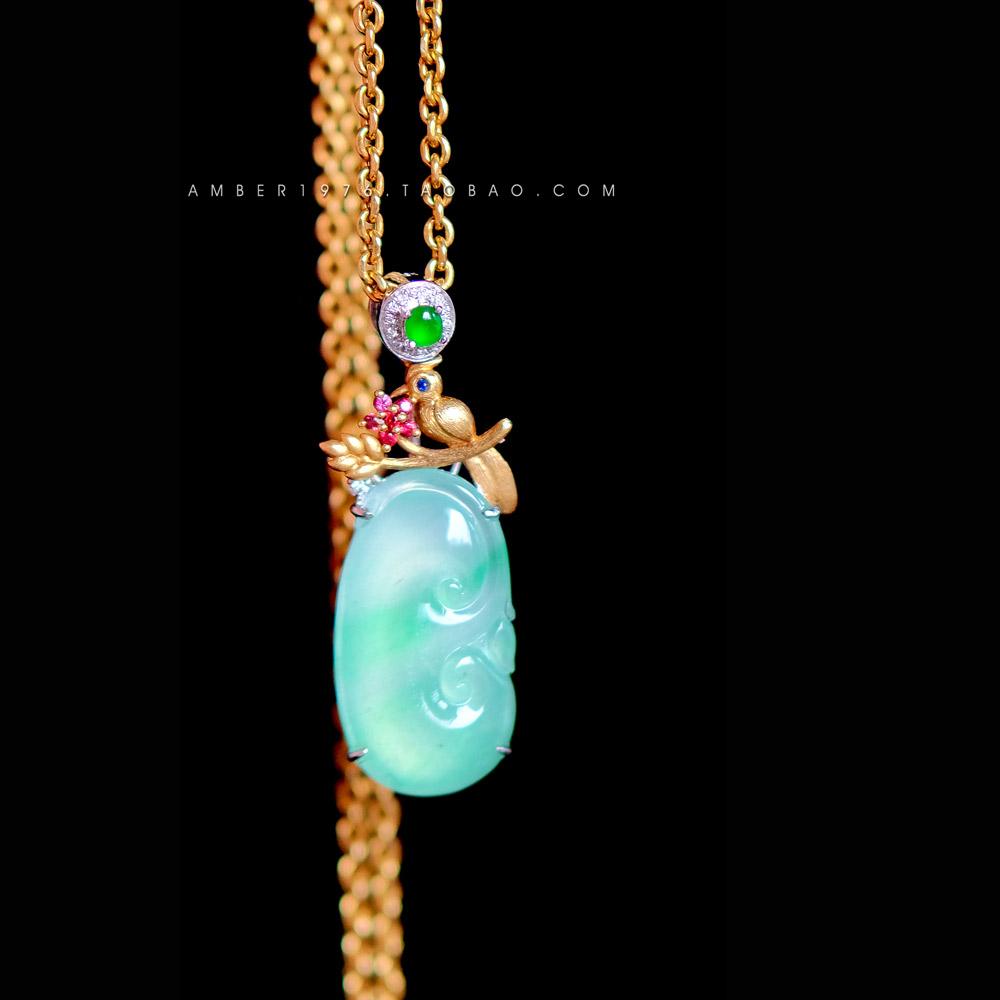Star point corolla incarnates flying ? naturalism style ice sweet bottom sun green jade 18K Gold Diamond Pendant