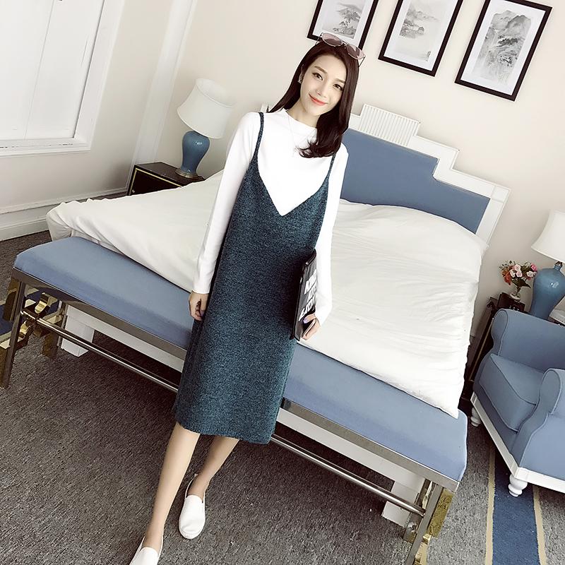 连衣裙女装秋装2016新款潮韩版中长款毛衣针织吊带背带V领裙子