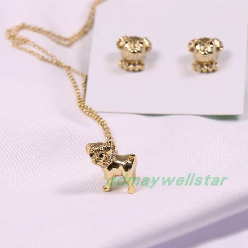 European and American fashion light gold lovely Pago dog harpy dog Bracelet Earring Necklace Set female accessories