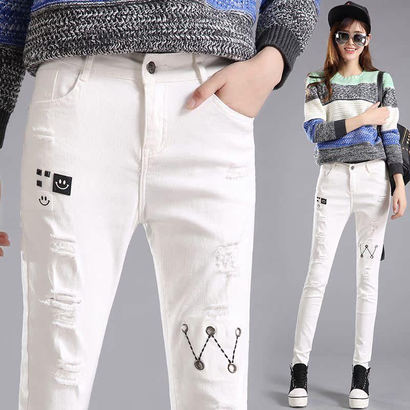新款春装2017女白色破洞牛仔裤女长裤时尚贴布小脚裤铅笔裤子韩版