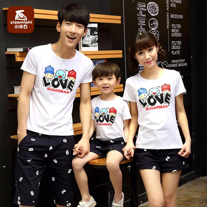 一家四口親子裝夏裝2016 三口全家裝T恤短袖母子裝上衣