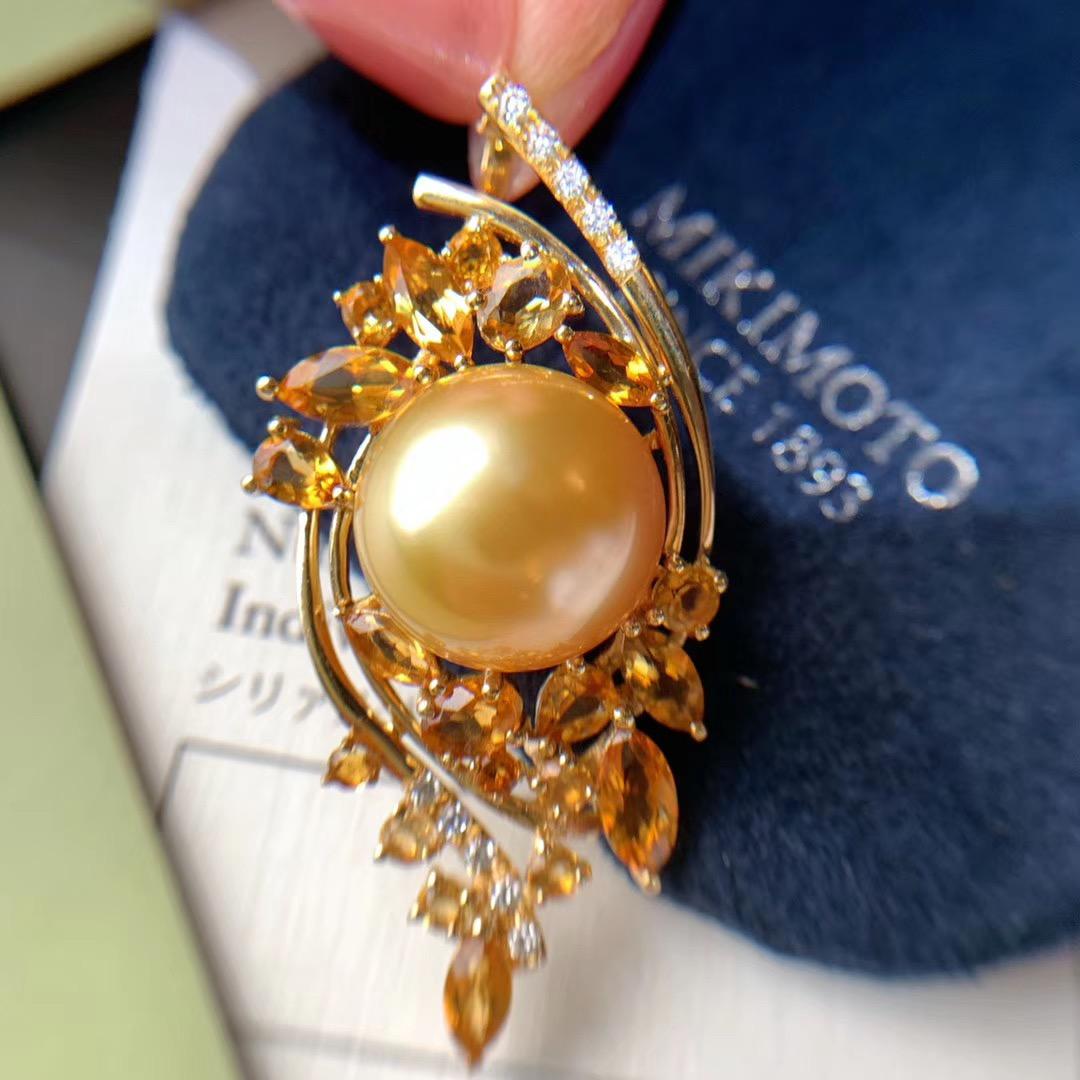 金镶嵌孪洋金珍珠项链澳洲白珍珠毛衣链18K银镀925巴西黄水晶吊坠