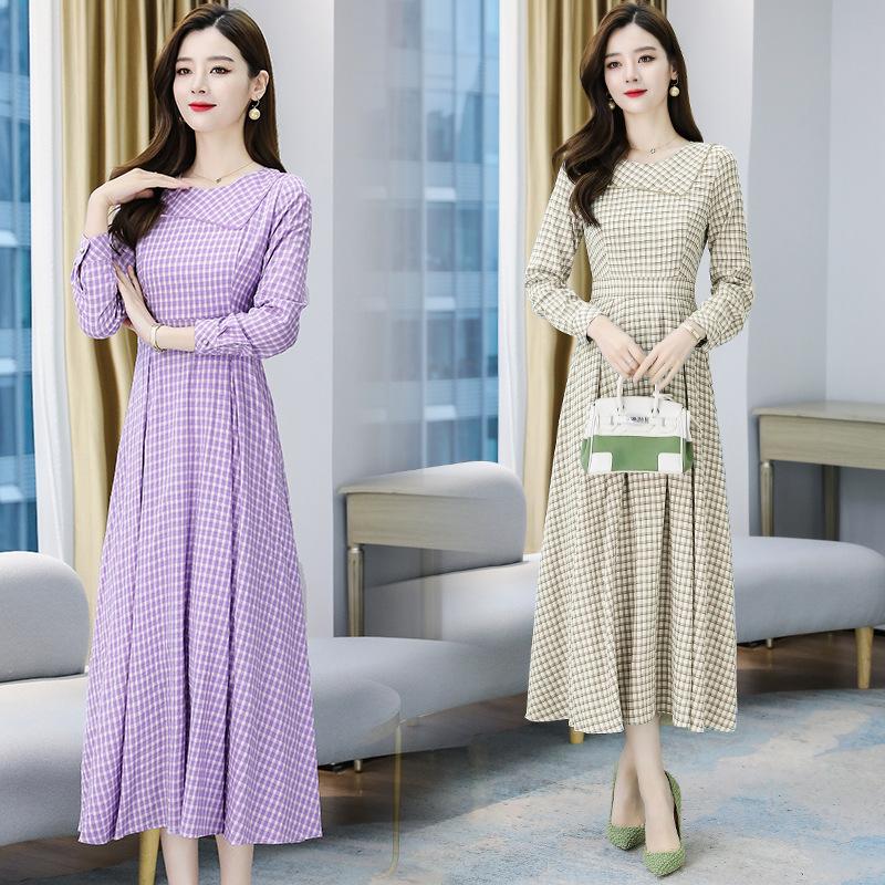 2020年秋季新款长袖雪纺格子连衣裙气质时尚收腰显瘦中长裙女装