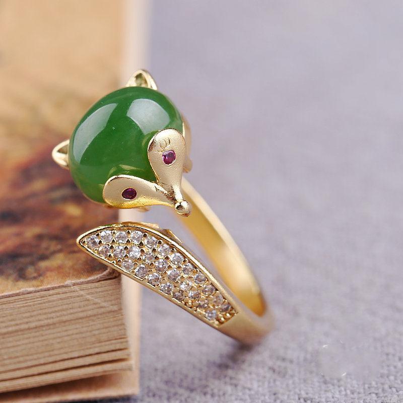 天然和田玉碧玉狐狸戒指指环S925银镶嵌宝石女款活扣玉石戒指
